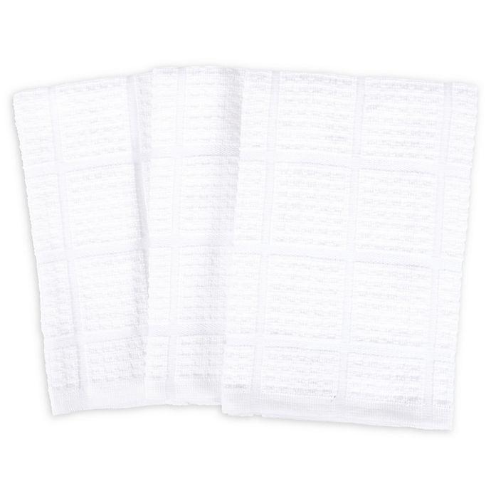 Alternate image 1 for SALT Oversized Waffle Weave Kitchen Towels in White (Set of 3)