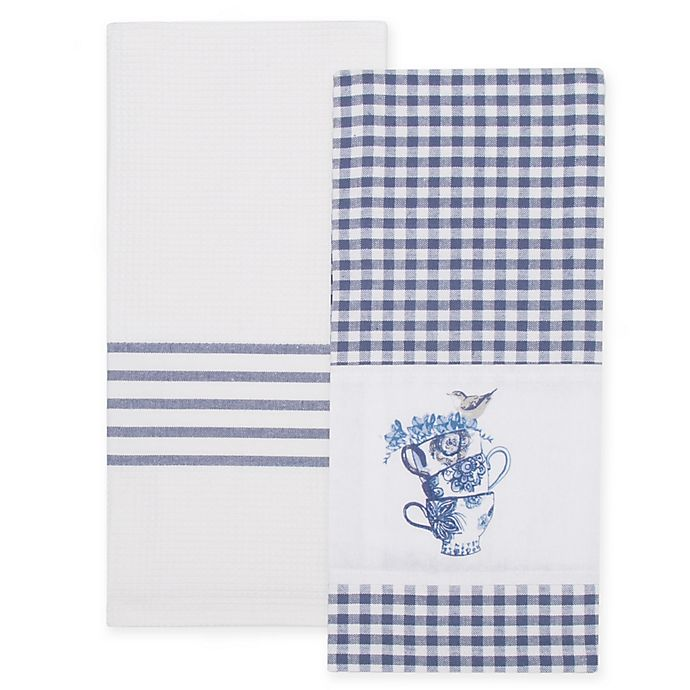 Bee & Willow™ Home Teacup Kitchen Towels in Blue/White (Set of 2)