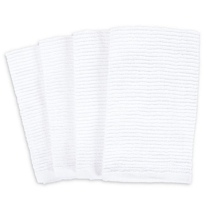 Alternate image 1 for SALT Wave Bar Mop Kitchen Towels in White (Set of 4)