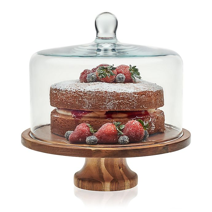 Alternate image 1 for Libbey® Glass Acacia Wood Cake Stand with Dome