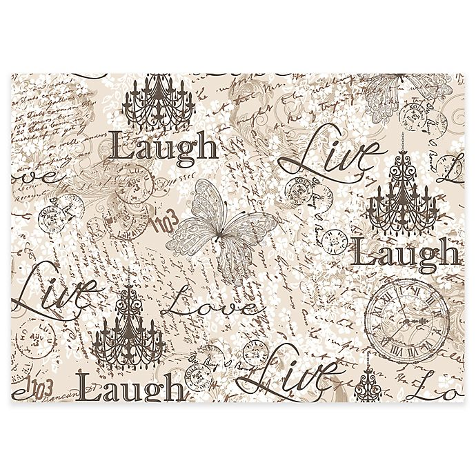 Mhf Home Quot Laugh Love Live Quot Laminated Placemats In Grey