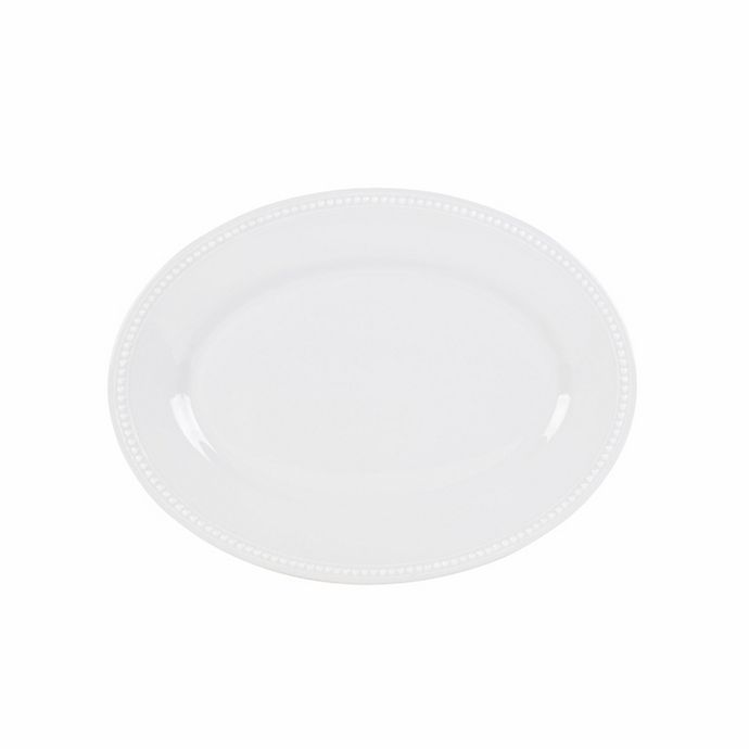 Alternate image 1 for Everyday White® by Fitz and Floyd® Beaded 14-Inch Oval Platter