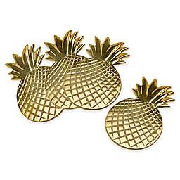 Godinger Pineapple Coasters in Gold (Set of 4)