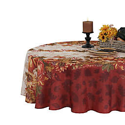 Elrene Swaying Leaves Bordered 70-Inch Round Tablecloth