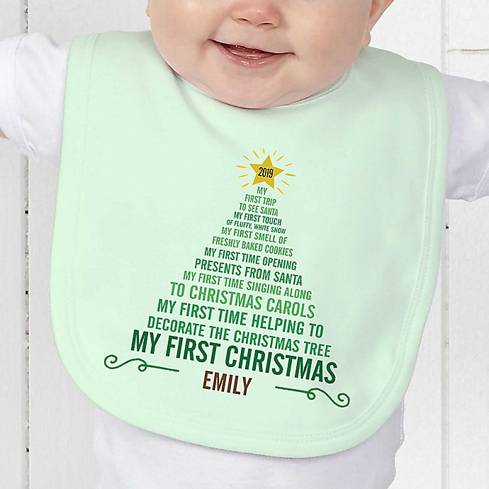 Alternate image 1 for Baby's 1st Christmas Tree Baby Bib