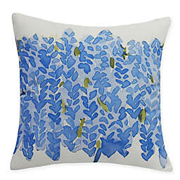 E by Design Flower Bell Bunch Square Throw Pillow in Blue