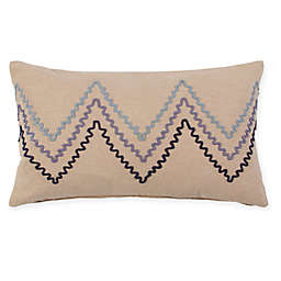 American Colors® Embroidered Chevron Oblong Throw Pillow in Linen/Blue