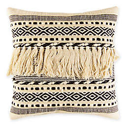 American Colors® Fringed Moroccan Square Throw Pillow in Natural/Black