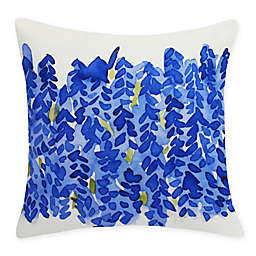 E by Design Flower Bell Bunch Square Throw Pillow Blue