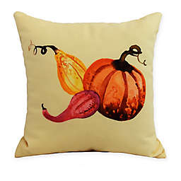 E by Design Gourd Pile Square Throw Pillow in Yellow