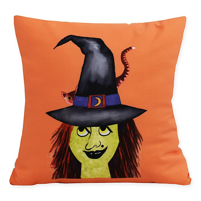 Alternate image 1 for E by Design Witches Hat Square Throw Pillow in Orange