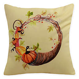 E by Design Cornucopia Wreath Square Throw Pillow