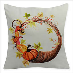 E by Design Cornucopia Wreath Square Throw Pillow in Cream