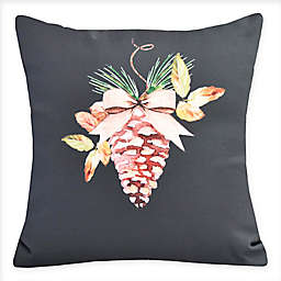 E by Design Natural Ornament Square Throw Pillow