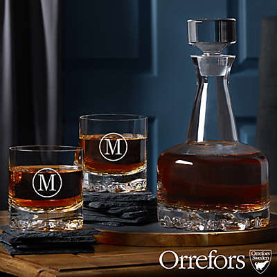Orrefors 3-Piece Engraved Whiskey Decanter Set