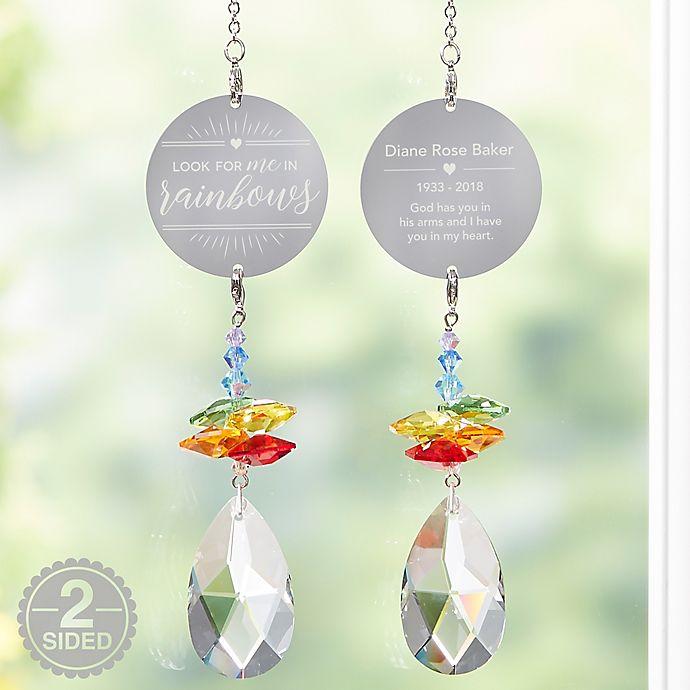 Alternate image 1 for Personalized Look For Me In Rainbows Memorial Suncatcher