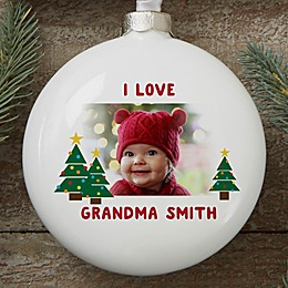 Hugs & Holiday Wishes Personalized Photo Ornament