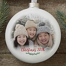 Personalized Holly Branch Deluxe Photo Slim Globe Ornament