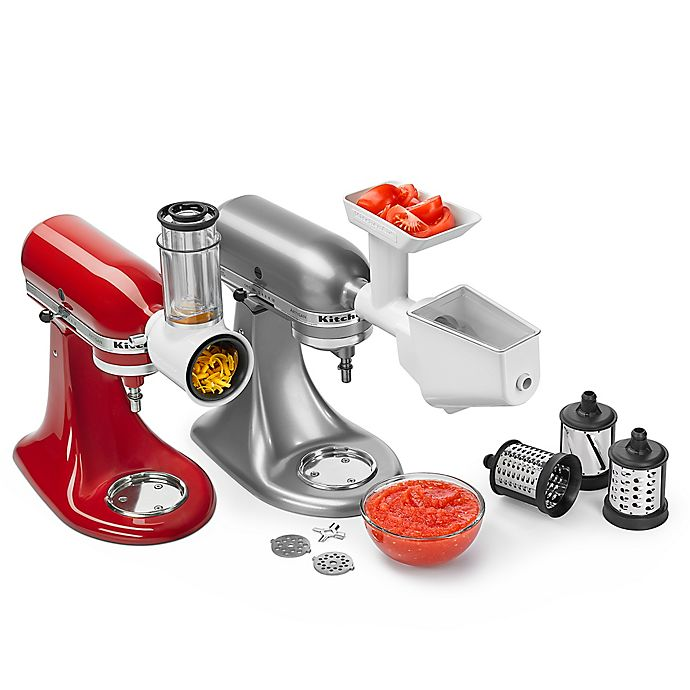 Alternate image 1 for KitchenAid® 5-Quart Artisan™ Shredder and Grinder/Strainer Attachment Pack