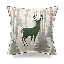 Cottage Life Brand Square Pillow in Grey/Green