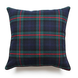 Scotland Tartan Plaid Square Throw Pillow in Navy/Forest Green