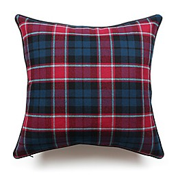 Scotland Tartan Plaid Square Throw Pillow in Red/Dark Grey