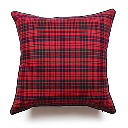 Scotland Tartan Plaid Square Throw Pillow in Red/Dark Green