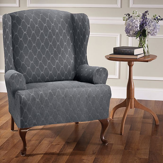 Stretch Sensations Stretch Ogee Wing Chair Slipcover Bed
