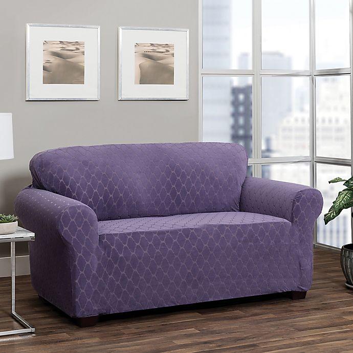 Alternate image 1 for Stretch Sensations Stretch Ogee Sofa Slipcover in Grape