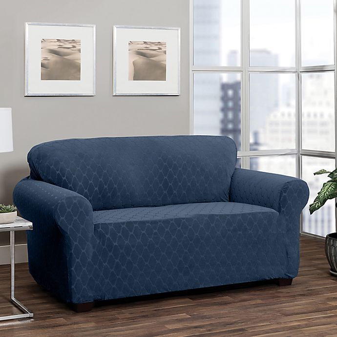 Alternate image 1 for Stretch Sensations Stretch Ogee Sofa Slipcover in Navy