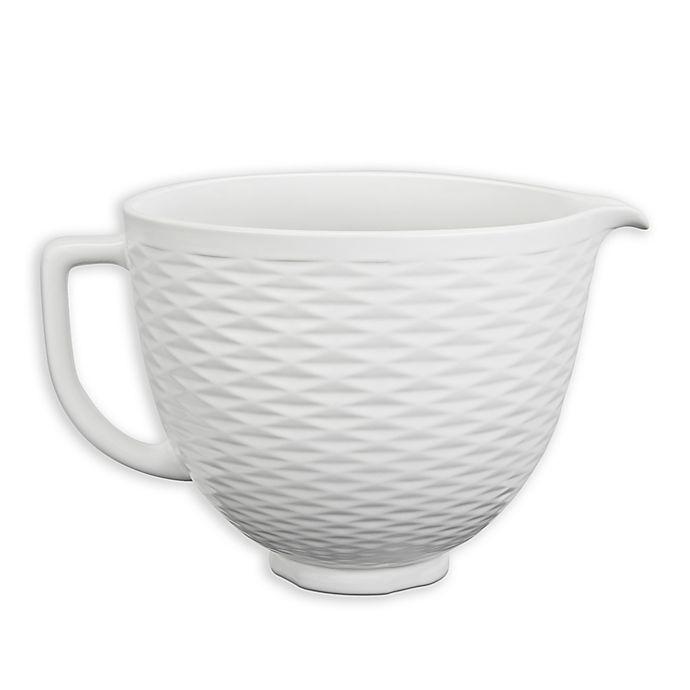 Alternate image 1 for KitchenAid® 5-Quart Textured Ceramic Bowl in White