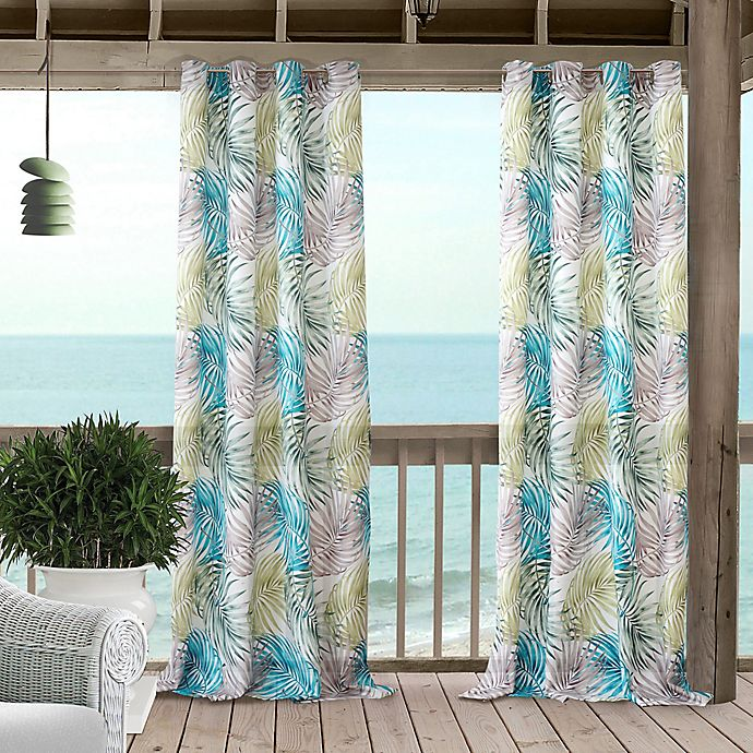 Alternate image 1 for Tahiti 84-Inch Grommet Window Curtain Panel in Blue/Green