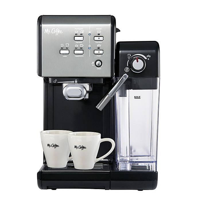Alternate image 1 for Mr. Coffee® One-Touch CoffeeHouse Espresso and Cappuccino Machine in Black Stainless