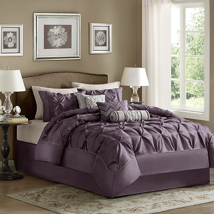 Alternate image 1 for Madison Park Laurel Pieced 7-Piece King Comforter Set in Plum