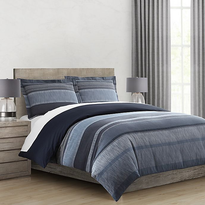Alternate image 1 for Morris Stripe Twin/Twin XL Comforter Set in Navy