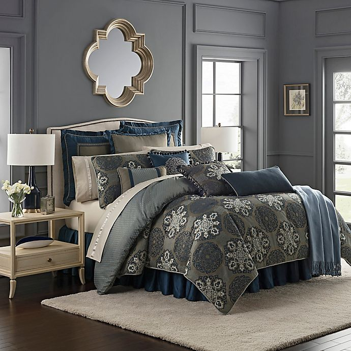 Alternate image 1 for Waterford® Jonet King Comforter Set in Indigo
