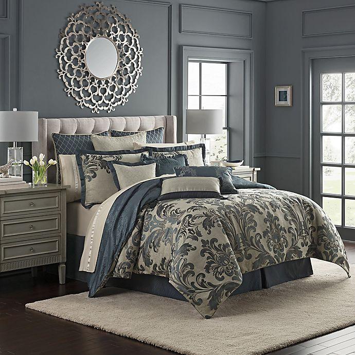 Alternate image 1 for Waterford® Everett Reversible Queen Comforter Set in Teal
