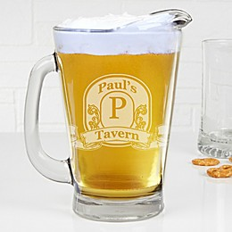 Vintage Bar Sign Personalized Deep Etch Beer Pitcher