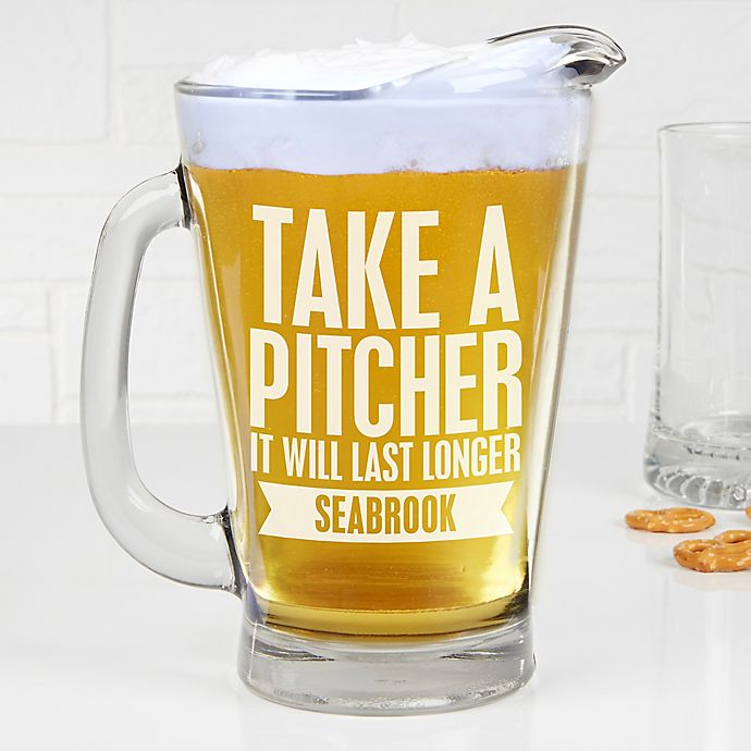 Alternate image 1 for Beer Quotes Personalized Deep Etch Beer Pitcher