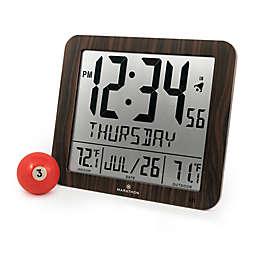 Large Display Slim Atomic Digital Clock with Indoor/Outdoor Temperature
