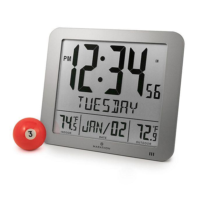 Alternate image 1 for Large Display Slim Atomic Digital Clock with Indoor/Outdoor Temperature in Grey