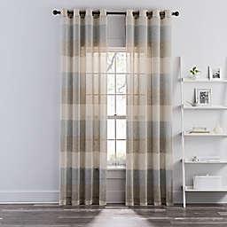 Brix Stripe Grommet Sheer Window Curtain Panel