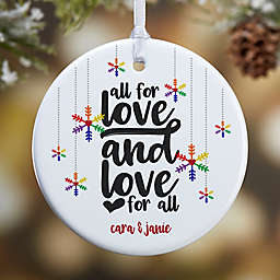 1-Sided Glossy Love Wins Personalized Pride Ornament-Small
