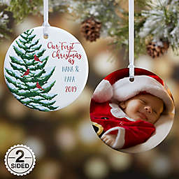 2-Sided Glossy Grandparent's 1st Christmas Personalized Ornament-Small