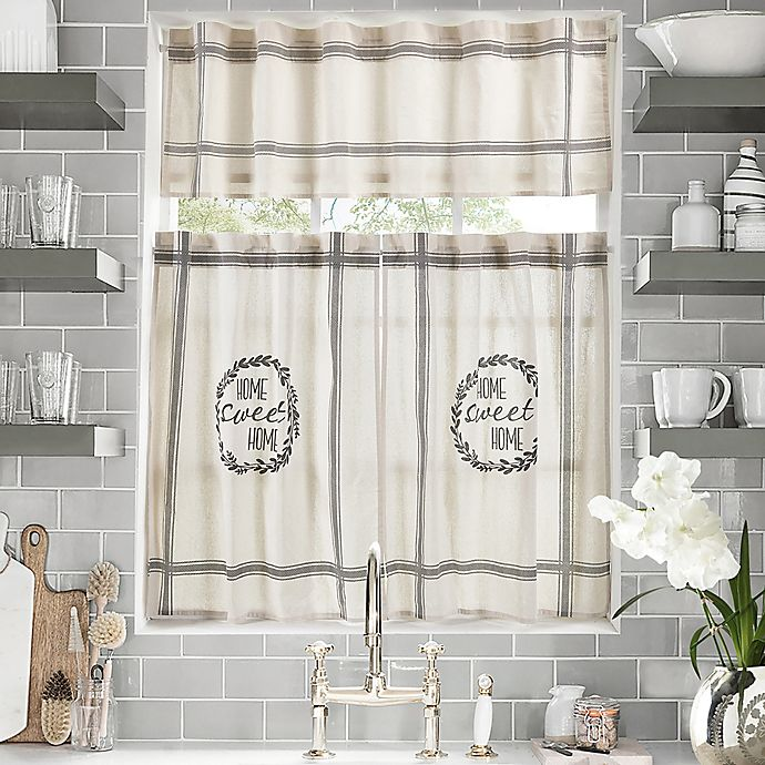 Home Sweet Home Kitchen Window Curtain Tiers and Valance ...