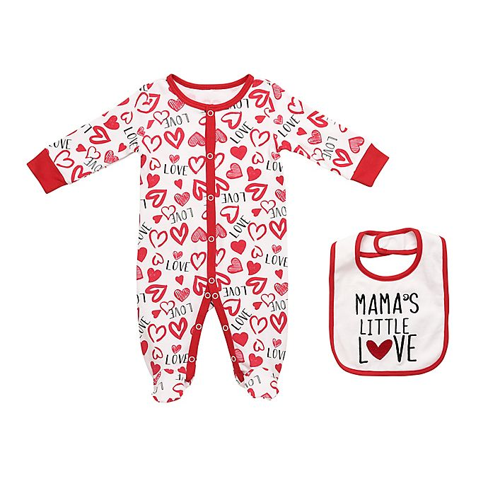 Alternate image 1 for Baby Starters® 2-Piece Love Hearts Footie and Bib Set in White/Red