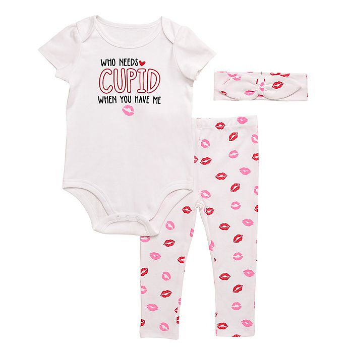 Alternate image 1 for Baby Starters® 3-Piece Cupid Kisses Bodysuit, Pant and Headband Set in White