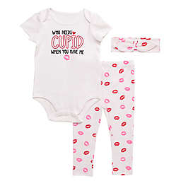 Baby Starters® 3-Piece Cupid Kisses Bodysuit, Pant and Headband Set in White