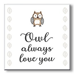 """Owl Always Love You"" 5-Inch Square Wood Wall Art"