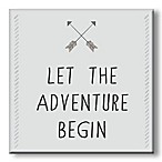 """Let the Adventure Begin"" 5-Inch Square Wood Wall Art"